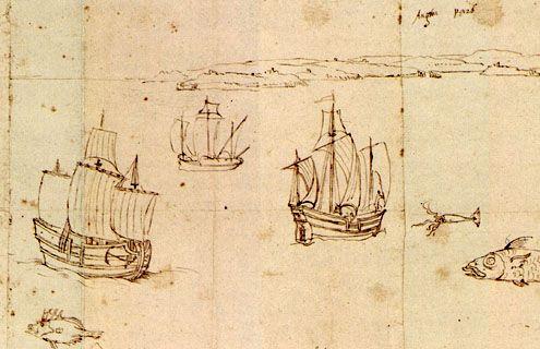 Haringbuizen voor de Engelse kust (rechtsboven staat 'Anglia pars'). Detail van de 'Zelandiae Descriptio' van Antoon van den Wijngaerde, omstreeks 1550. Het origineel van deze tekening bevindt zich in het Museum Plantin-Moretus in Antwerpen, België.