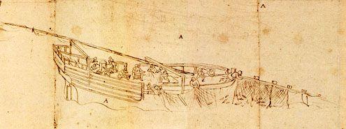 Vissers in actie op een haringbuis. Detail van de 'Zelandiae Descriptio' van Antoon van den Wijngaerde, omstreeks 1550. Het origineel van deze tekening bevindt zich in het Museum Plantin-Moretus in Antwerpen, België.
