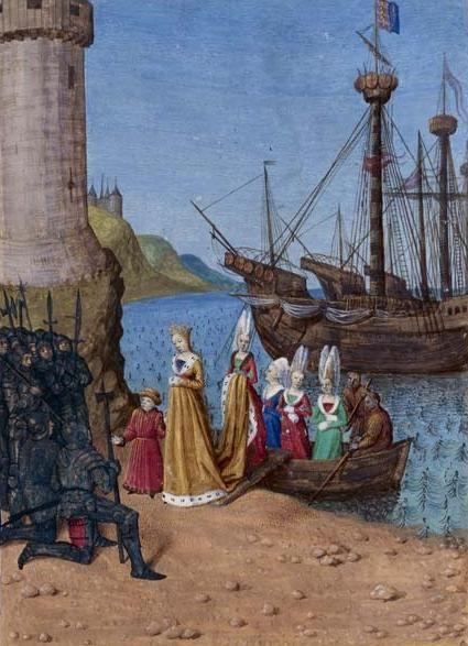 De terugkeer van Isabella en haar zoon Edward in Engeland. Schilderwerk door Jean Fouquet, circa 1455. (Bibliothèque Nationale de France)