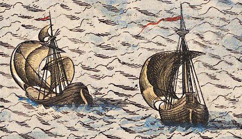 Vissersschepen op de Noordzee. Uitsnede van de kaart van Zeeland van Jacob van Deventer, omstreeks 1544. (Zeeuws Archief, collectie Zeeuws Genootschap, Zelandia Illustrata)
