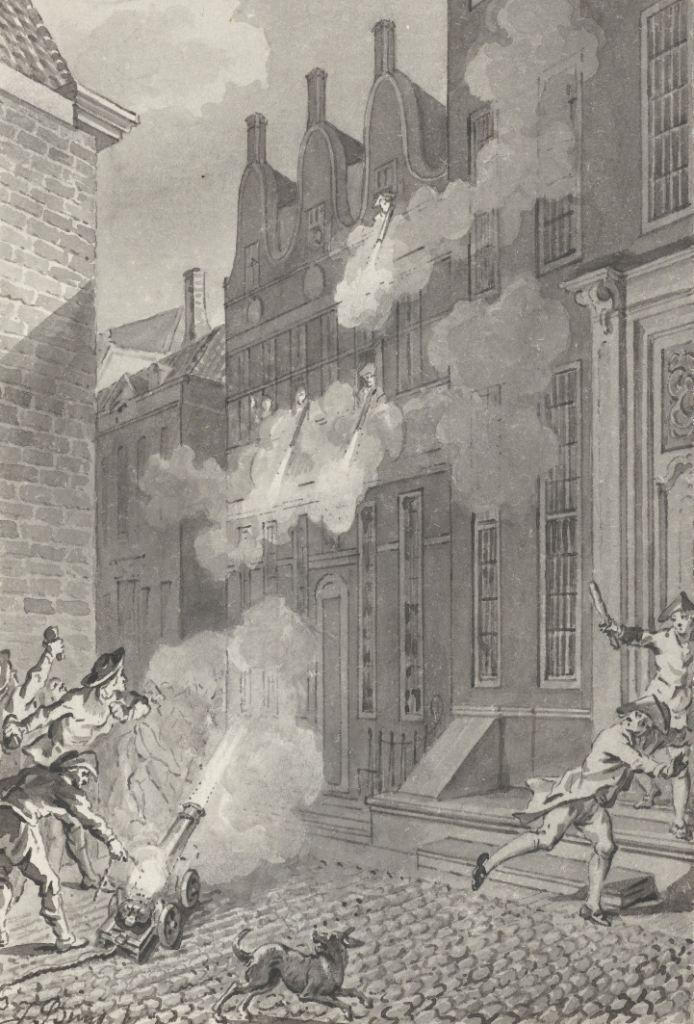 Beschieting van het huis van de Middelburgse arts Lucas van Steveninck, 1787. (Collectie Rijksmuseum)