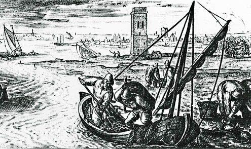 De vangst van mosselen en krabben voor de ruïne van de toltoren van Iersekeroord. Fragment van een gravure van F. Galle, 1580. (Beeldbank SCEZ)
