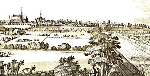 Zicht op Brouwershaven, met in het midden en rechts op de achtergrond talloze masten van (vissers)schepen. Op de voorgrond rechts een eenzame visser. Detail uit N. Visscher, Speculum Zelandiae, omstreeks 1650.