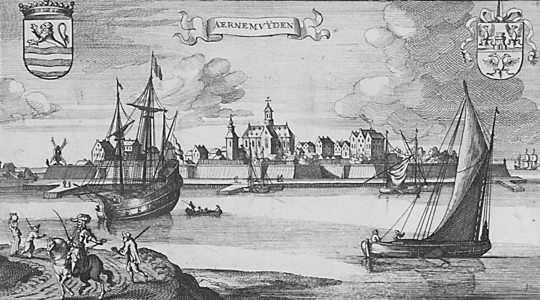 Arnemuiden, zoals afgebeeld op een kopergravure van omstreeks 1670. (Zeeuws Archief, coll. Zeeuws Genootschap, Zelandia Illustrata)