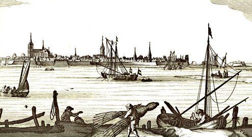 Na 1631 verhuisden met name de mosselvissers uit Reimerswaal naar Tholen. Op deze uitsnede van een afbeelding van Tholen zijn diverse vissers actief, onder andere met fuiken. (Uit: N. Visscher, Speculum Zelandiae, circa 1650)