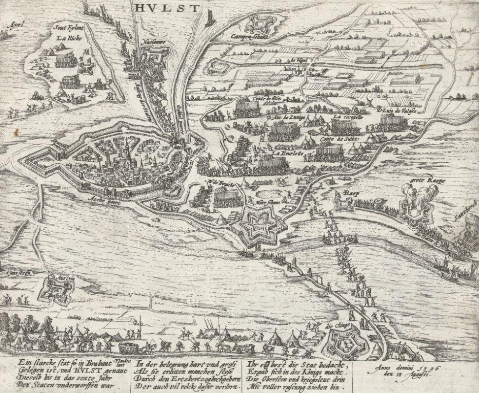 Inname van Hulst door de Spanjaarden in 1596. (Collectie Rijksmuseum)