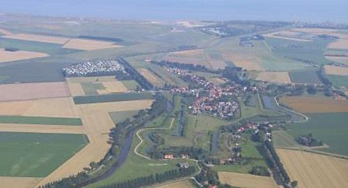 Gezicht vanuit de lucht op Retranchement. (foto Provincie Zeeland)