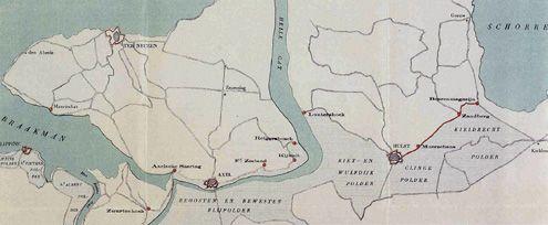 Kaart van een deel van Oost-Zeeuws-Vlaanderen die de situatie in 1794 aan de vooravond van de Franse verovering van Nederland weergeeft. (Zeeuws Archief, coll. Zeeuws Genootschap, Zelandia Illustrata)