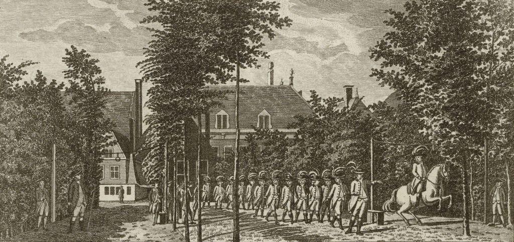 Optocht met de prijs voor het ridderspel voor de Confrerie van Sint Joris te Middelburg, 1785-1786. Prent door Daniël Veelwaard naar een tekening van Jan Arends. (Rijksmuseum)