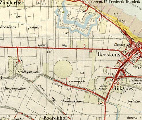 Uitsnede uit de topografische kaart, blad 48c, Vlissingen uit 1949. Op de kaart staat vermeld: