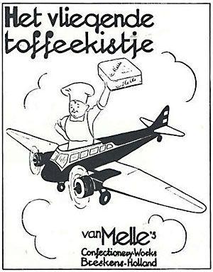 Kaft van 'Het vliegende toffeekistje'. Reclameboekje uit oktober 1935 van Van Melle.