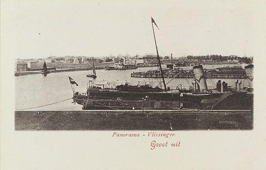 Het Kanaal door Walcheren en de Eerste Binnenhaven (op voorgrond rechts) in Vlissingen. Prentbriefkaart van omstreeks 1895. (Zeeuws Archief, coll. KZGW, Zelandia Illustrata)