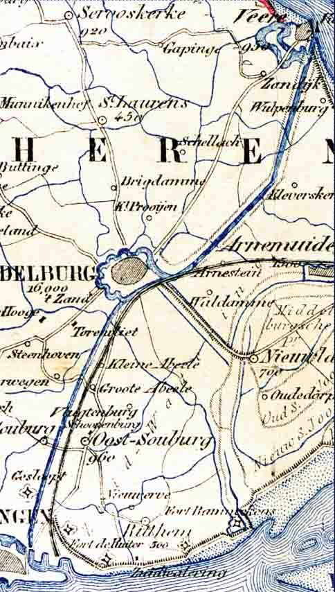 Traject van het kanaal en de spoorweg op Walcheren. Uitsnede van de kaart van Zeeland, ontworpen en getekend door J. Kuyper uit 1872. (Zeeuws Archief, coll. KZGW, Zelandia Illustrata)