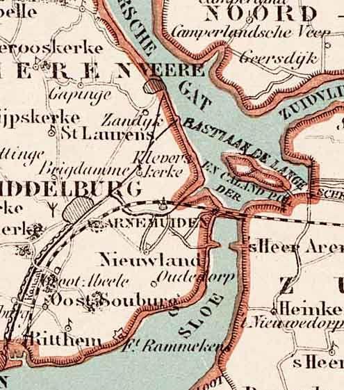 De Sloedam op een kaart van Zeeland, gemaakt naar een tekening van P.H. Witkamp, omstreeks 1883. (Zeeuws Archief, coll. KZGW, Zelandia Illustrata)