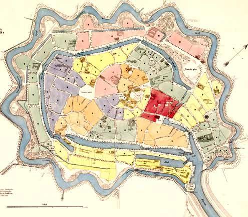 Plattegrond van de stad Middelburg in 1860 (uitsnede). (Zeeuws Archief, coll. KZGW, Zelandia Illustrata)