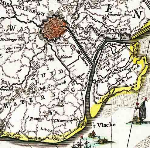 Middelburg, Haven(kanaal) en Kanaal van Welsinge, uitsnede kaart van Zeeland 1652. (Zeeuws Archief, coll. KZGW, Zelandia Illustrata)