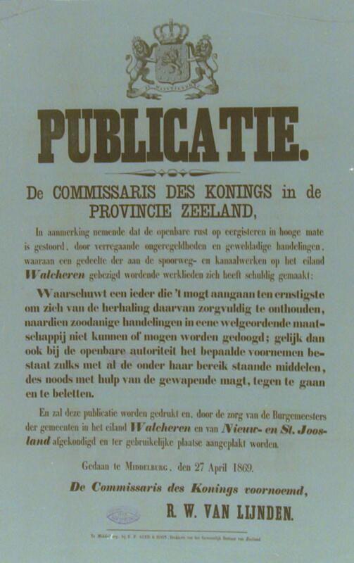 Affiche met waarschuwing tegen verdere ongeregeldheden, 27 april 1869. (Zeeuwse Bibliotheek, Beeldbank Zeeland)