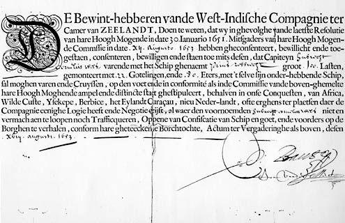 Commissiebrief voor kapitein Hubrecht Corneliss. Wils van het WIC kaperschip Prins Robbrecht, gedateerd 12 augustus 1653. (Zeeuws Archief, Archief Stad Veere)