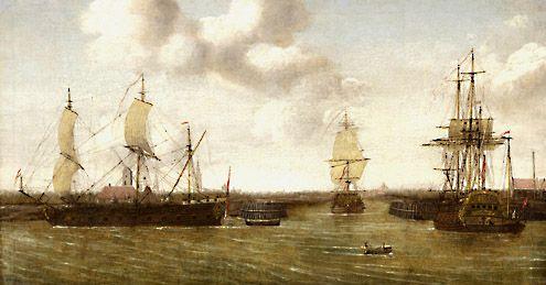 Kaperfregat, vermoedelijk de Profeet Elias, voor de uitgang van de Welsinge. Op de achtergrond ligt Middelburg. Schilderij van omstreeks 1708. (Particulier bezit, in bruikleen bij Zeeuws maritiem muZEEeum)
