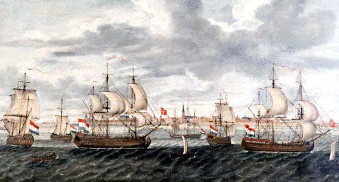 Vlissingse kaperschepen op de rede van hun thuishaven. Schilderij door Cornelis Louw, omstreeks 1715. (Zeeuws maritiem muZEEum)