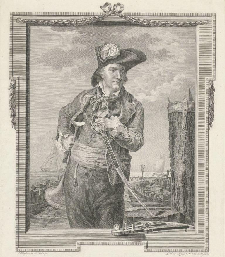 Nicolaas Jarry (overl. 1784), kaperkapitein in Vlissingen, met steek, degen, scheepsroeper en quadrant voor het havenhoofd, naar een schilderij van J. Perkois. (Rijksmuseum)