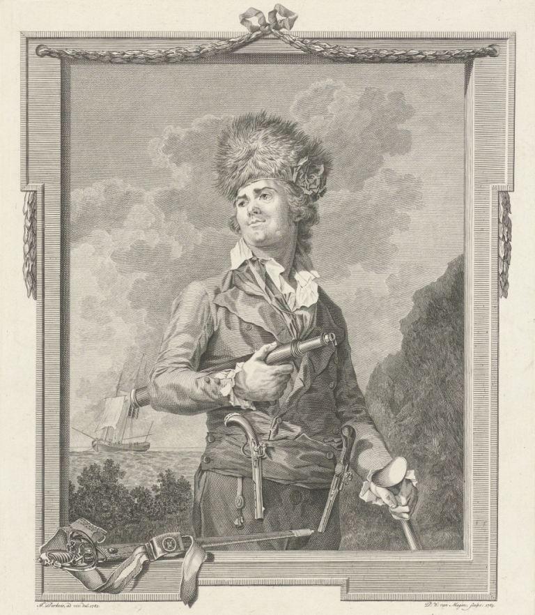 Pierre le Turcq (overl. 1784), kaperkapitein in Vlissingen, met berenmuts, scheepsroeper en verrekijker, naar een schilderij van J. Perkois. (Rijksmuseum)