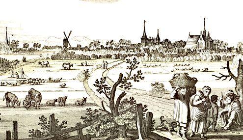 Gezicht op Haamstede, vanuit het zuiden, met op de achtergrond de duinen, en op de voorgrond personen, waarvan een met een oestermand. (Uit: N. Visscher, Speculum Zelandiae, circa 1650)