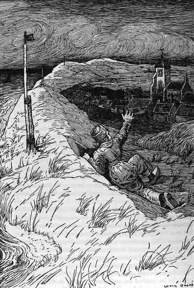 Hans Brinker volgens de illustrator Louis Rhead. Duidelijk herkenbaar zijn de duinenrij en kerktoren van Zoutelande. In: Mary Mapes Dodge, De zilveren schaatsen; een schets uit het Noord-Hollandsche volksleven (Amsterdam 1876).