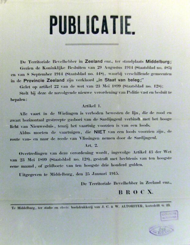 Publicatie van een vaarverbod in de Wielingen. Affiche, 1914. (Zeeuwse Bibliotheek, Beeldbank Zeeland)
