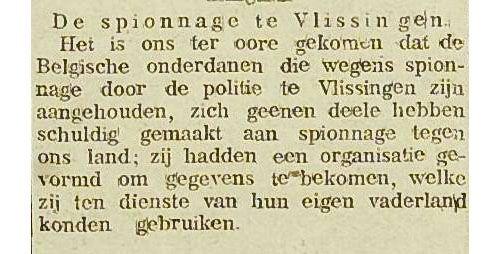 Niet alle van spionage verdachte personen bleken schuldig. Artikel in Middelburgsche Courant van 27 november 1916, pagina 1. (Zeeuwse Bibliotheek, Krantenbank Zeeland)