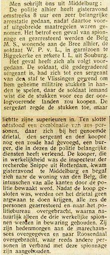 Drie spionnen werden in 1918 in Middelburg aangehouden. Artikel uit de Vlissingse Courant van 15 juni 1918. (Zeeuwse Bibliotheek, Krantenbank Zeeland)