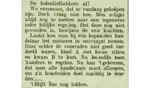 Krantenbericht over de distributie van steenkolenbons, De Zeeuw, 15 februari 1917, pagina 2. (Zeeuwse Bibliotheek, Krantenbank Zeeland)