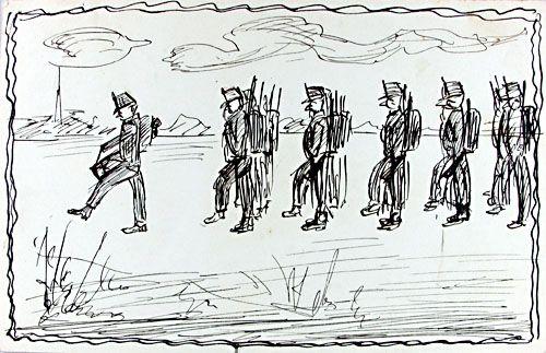 Tekening van marcherende soldaten. Gemaakt door onbekende tekenaar uit Sas van Gent, periode 1914-1918. (Zeeuwse Bibliotheek, Beeldbank Zeeland)