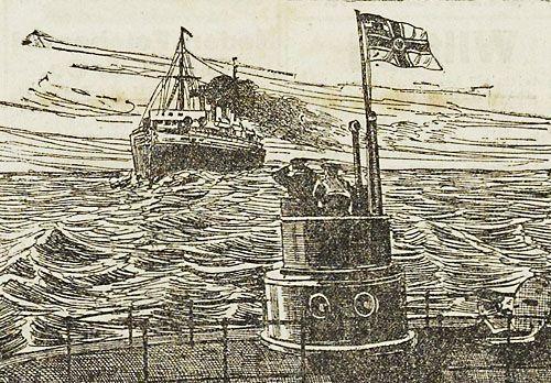 Een Duitse duikboot maakt zich klaar voor de aanval na het signaleren van een schip. Tekening uit de Soldaten Courant van 16 juli 1915 (ZB, Krantenbank Zeeland).