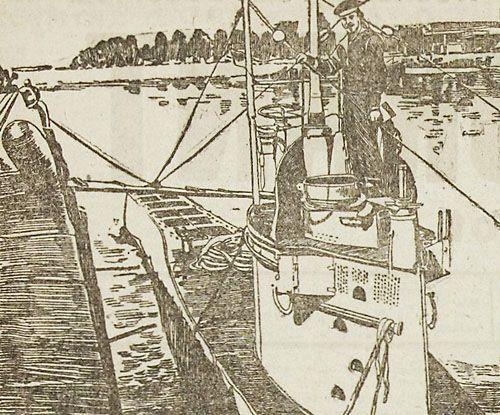 Een Duitse duikboot in de haven. Tekening uit de Soldaten Courant van 20 december 1916 (ZB, Krantenbank Zeeland).