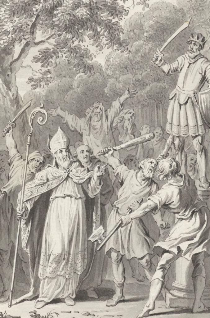 Op bevel van Willibrord wordt een afgodsbeeld bij Westkapelle vernietigd. Tekening omstreeks 1790. (Rijksmuseum)