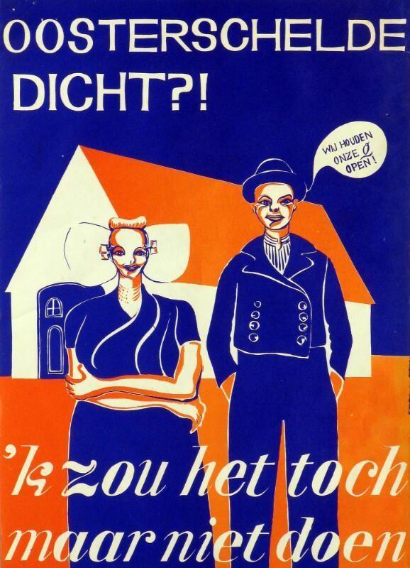 Affiche tegen afsluiting van de Oosterschelde. (Zeeuwse Bibliotheek, Beeldbank Zeeland, collectie Paul de Schipper)