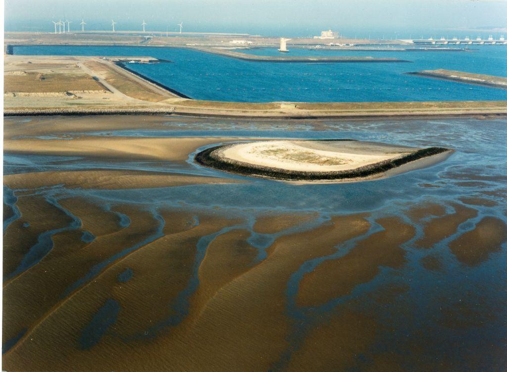 Roggenplaat met voormalige bouwput bij laag water. (Beeldbank Rijkswaterstaat)
