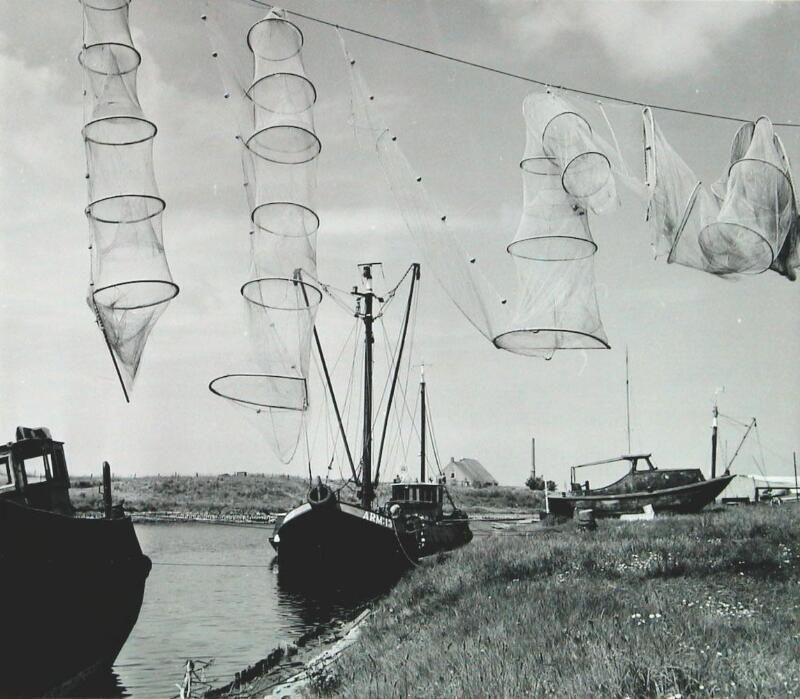 Fuiken drogen in Arnemuiden, 1966. (Zeeuwse Bibliotheek, Beeldbank Zeeland, foto I. Lamain)