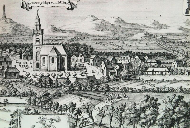 Afbeelding van Burgh in de Nieuwe Cronyk van Zeeland. (Zeeuwse Bibliotheek, Beeldbank Zeeland)