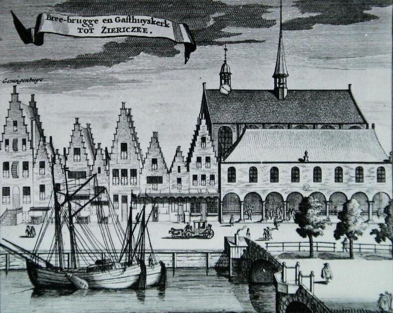 Gasthuiskerk in Zierikzee, afgebeeld in de Nieuwe Cronyk van Zeeland. (Zeeuwse Bibliotheek, Beeldbank Zeeland)