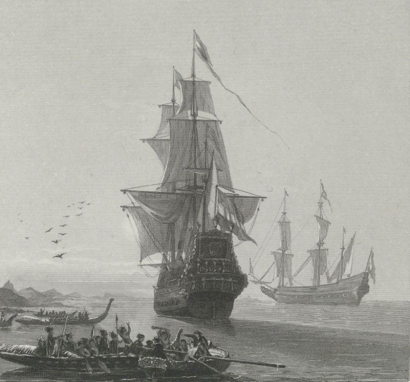 Aankomst Abel Tasman in Nieuw-Zeeland. Staalgravure door J.H.M.H. Renneveld, 1865-1870. (Rijksmuseum)