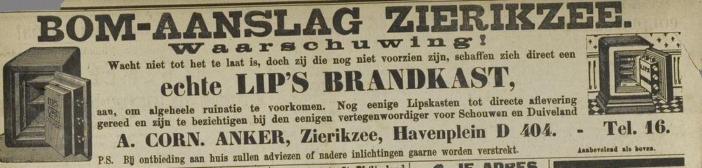 Advertentie Zierikzeesche Nieuwsbode 4 mei 1917. (ZB, Krantenbank Zeeland)