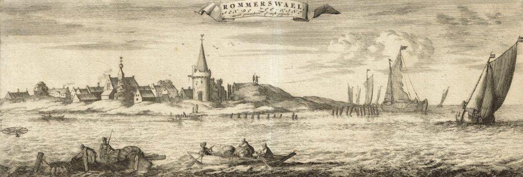 De trieste restanten van Reimerswaal, in Smalleganges 'Cronyk' (1696). (Zeeuws Archief, coll. Zeeuws Genootschap, Zelandia Illustrata)