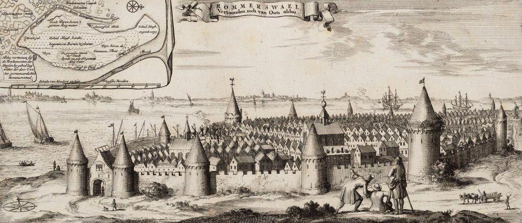 De stad Reimerswaal, zoals het eens was, in Smalleganges 'Nieuwe Cronyk van Zeeland' uit 1696. (Zeeuws Archief, coll. Zeeuws Genootschap, Zelandia Illustrata)