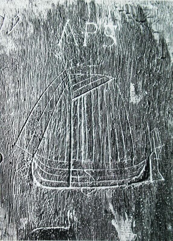 Inscripties op de wanden in het Gravensteen. (ZB, Beeldbank Zeeland)