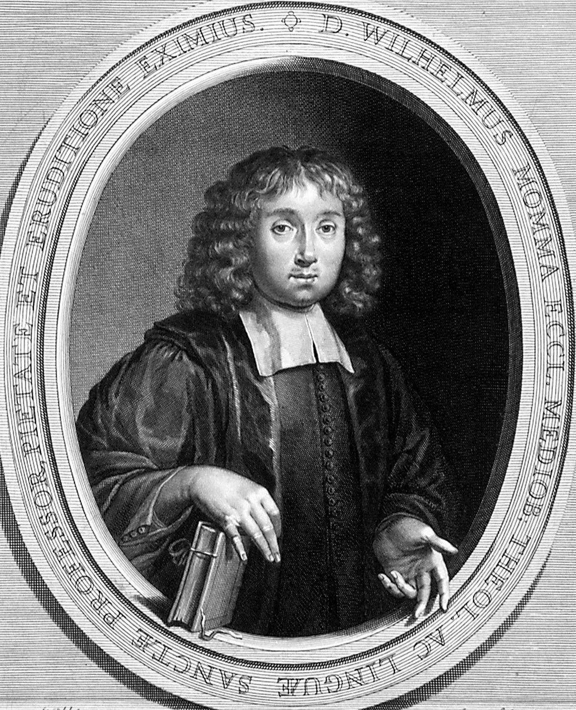 Portret van Wilhelmus Momma (1642-1677), predikant te Middelburg en professor aan de Illustere school. (Zeeuws Archief, coll. Zeeuws Genootschap, Zelandia Illustrata)