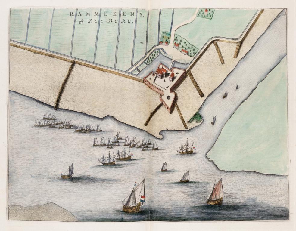 Kaart van Rammekens uit het in 1649 bij Joan Blaeu te Amsterdam verschenen boek <em>Toneel der Steden van de Vereenigde Nederlanden, met hare beschrijvingen</em> (Zeeuws Archief, KZGW, Zelandia Illustrata).