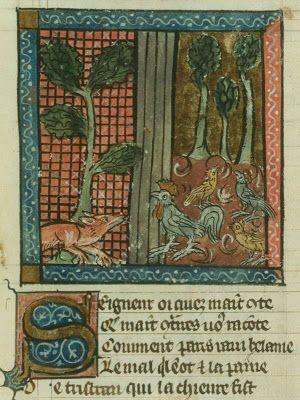 Miniatuur uit een handschrift van de Franse Roman de Renart van Pierre de Saint-Cloud.