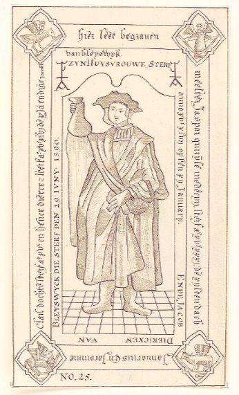 Tekening uit 1781 van de grafzerk van mr. Jasper Quirijnsen (Zeeuws Archief, KZGW, Zelandia Illustrata). Dat hij een arts was die aan 'piskijken' deed, blijkt uit het urineglas dat hij vasthoudt. Quirijnsen overlijdt in 1531. Zijn vrouw Jacomine Claisdochter wordt, blijkens het randschrift, in hetzelfde graf bijgezet, evenals andere familieleden.